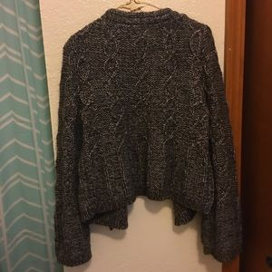 Loft cropped sweater cardigan with gold thread.